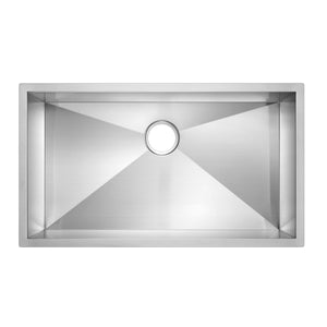 "Water Creation 33"" x 19"" Zero Radius Single Bowl Stainless Steel Hand Made Undermount Kitchen Sink With Drain and Strainer SSS-US-3319A-16"