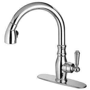 LaToscana Old-Fashioned single handle pull-down spray kitchen faucet in Chrome - USCR591ANT