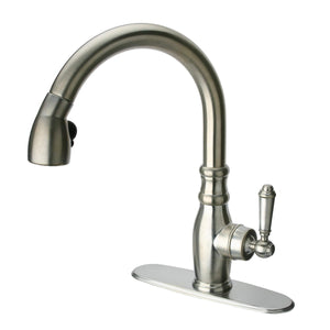 LaToscana Old-Fashioned single handle pull-down spray kitchen faucet in Brushed Nickel - USPW591ANT