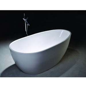"Legion Furniture 68"" White Oval Freestanding Acrylic Tub, No Faucet WE6515-J"