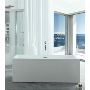 "Legion Furniture 67"" White Rectangular Freestanding Acrylic Tub, No Faucet WE6813B-J"