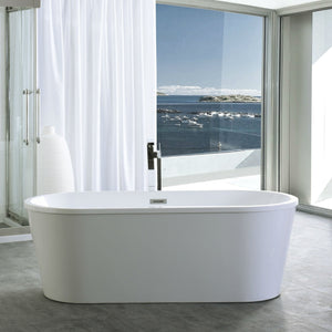 "Legion Furniture 59"" White Oval Freestanding Acrylic Tub, No Faucet WE6815-S"