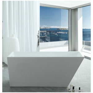 "Legion Furniture 67"" White Rectangular Freestanding Acrylic Tub, No Faucet WE6844-J"