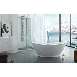 "Legion Furniture 69"" White Slipper Freestanding Acrylic Tub, No Faucet WE6845-J"