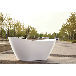 "Legion Furniture 71"" White Slipper Freestanding Acrylic Tub, No Faucet WE6846-J"