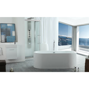 "Legion Furniture 66"" White Oval Freestanding Acrylic Tub, No Faucet WE6847-J"