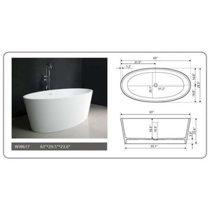 "Legion Furniture 63"" Matte White Solid Surface Tub, No Faucet WJ8617-W"