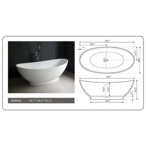 "Legion Furniture 70.7"" Matte White Solid Surface Tub, No Faucet WJ8620-W"