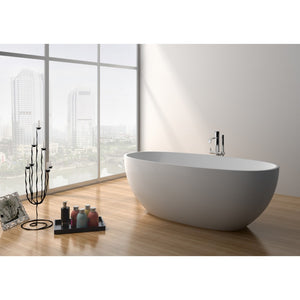 "Legion Furniture 65"" Matte White Solid Surface Tub, No Faucet WJ8628-W"
