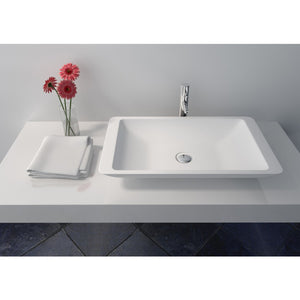 "Legion Furniture 23.6"" Matte White Vessel Solid Surface Bathroom Sink Bowl WJ9002"
