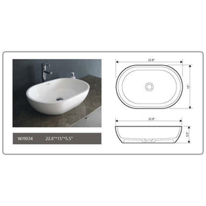 "Legion Furinture 22.8"" Matte White Vessel Solid Surface Bathroom Sink Bowl WJ9034"