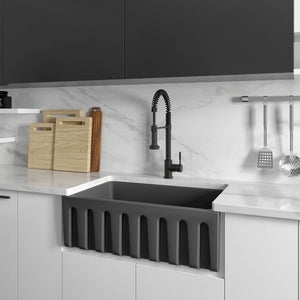 ZLINE Venice Farmhouse Reversible Fireclay Sink in Charcoal FRC5119-CL-30