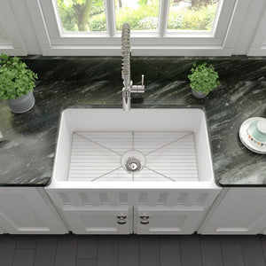 ZLINE Venice Farmhouse Reversible Fireclay Sink in White Matte FRC5119-WM-30