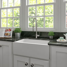 Load image into Gallery viewer, ZLINE Venice Farmhouse Reversible Fireclay Sink in White Matte FRC5119-WM-30