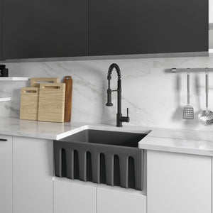 ZLINE Venice Farmhouse Reversible Fireclay Sink in Charcoal FRC5120-CL-24