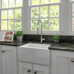 ZLINE Venice Farmhouse Reversible Fireclay Sink in White Gloss FRC5120-WH-24