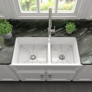 ZLINE Palermo Farmhouse Reversible Fireclay Sink in White Gloss FRC5121-WH-36