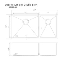 "Load image into Gallery viewer, ZLINE Chamonix 36"" Undermount Double Bowl Sink in Stainless Steel SR60D-36"