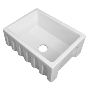 ZLINE Venice Farmhouse Reversible Fireclay Sink in White Matte FRC5120-WM-24