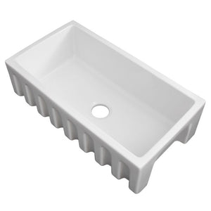 ZLINE Venice Farmhouse Reversible Fireclay Sink in White Gloss FRC5131-WH-33