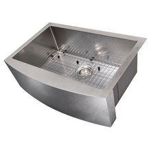 "Load image into Gallery viewer, ZLINE Zermatt Farmhouse 30"" Undermount Single Bowl Sink in DuraSnow¨ Stainless Steel SAS-30S"