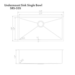"ZLINE Meribel 33"" Undermount Single Bowl Sink in DuraSnow¨ Stainless Steel SRS-33S"