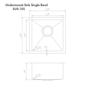 "ZLINE Boreal 15"" Undermount Single Bowl Bar Sink in DuraSnow¨ Stainless Steel SUS-15S"