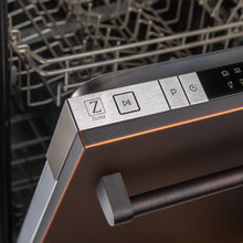 "Load image into Gallery viewer, ZLINE 24"" Top Control Dishwasher in Oil-Rubbed Bronze with Stainless Steel Tub and Traditional Style Handle DW-ORB-H-24"