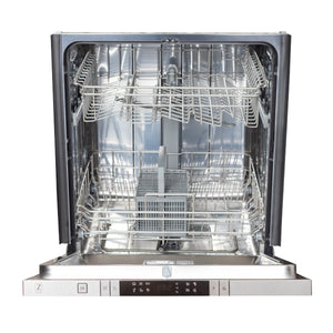 "ZLINE 24"" Top Control Dishwasher in White Matte with Stainless Steel Tub and Traditional Style Handle DW-WM-24"