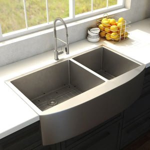 "ZLINE Niseko Farmhouse 36"" Undermount Double Bowl Sink in Stainless Steel (SA50D-36)"