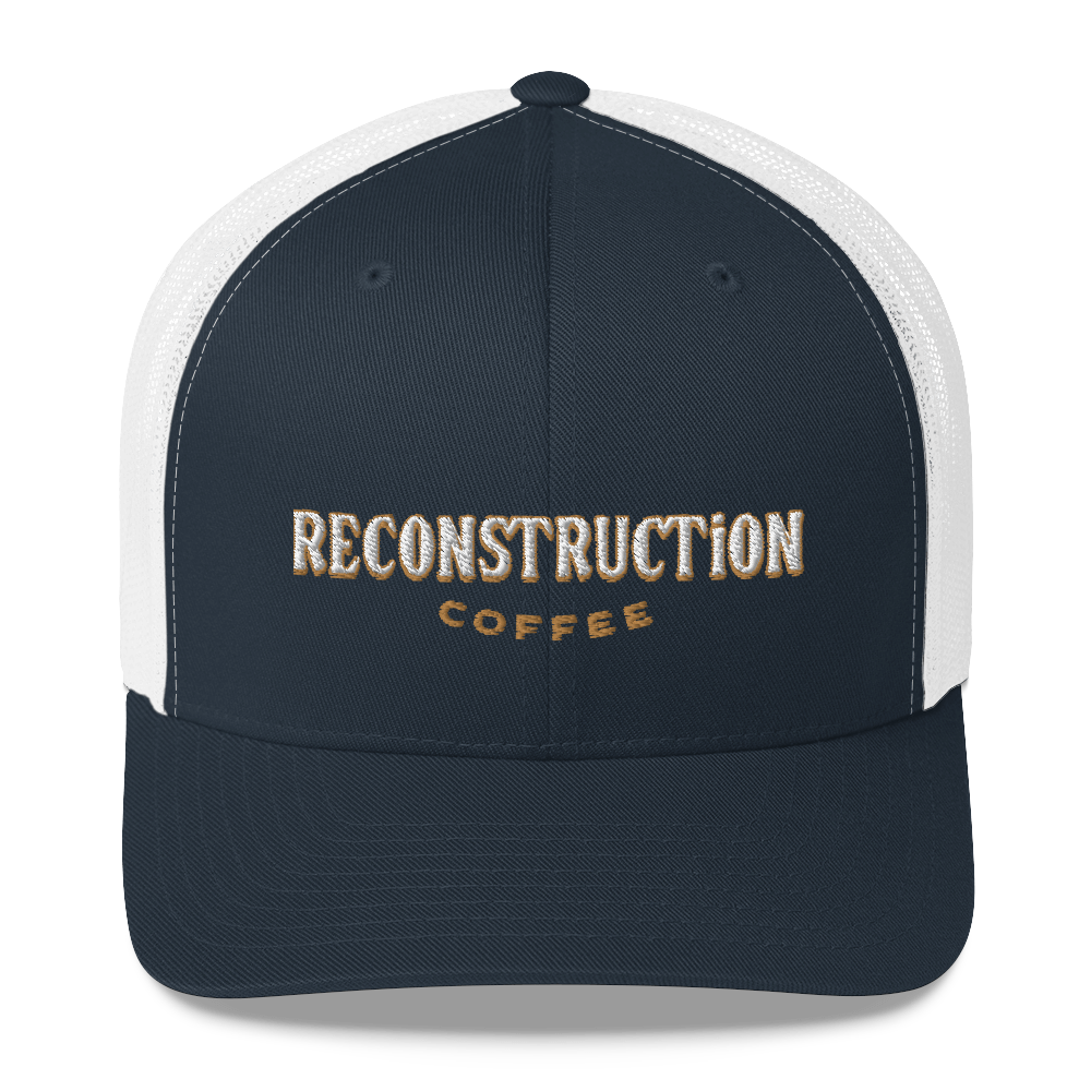 Reconstruction Trucker Cap - Blue on White