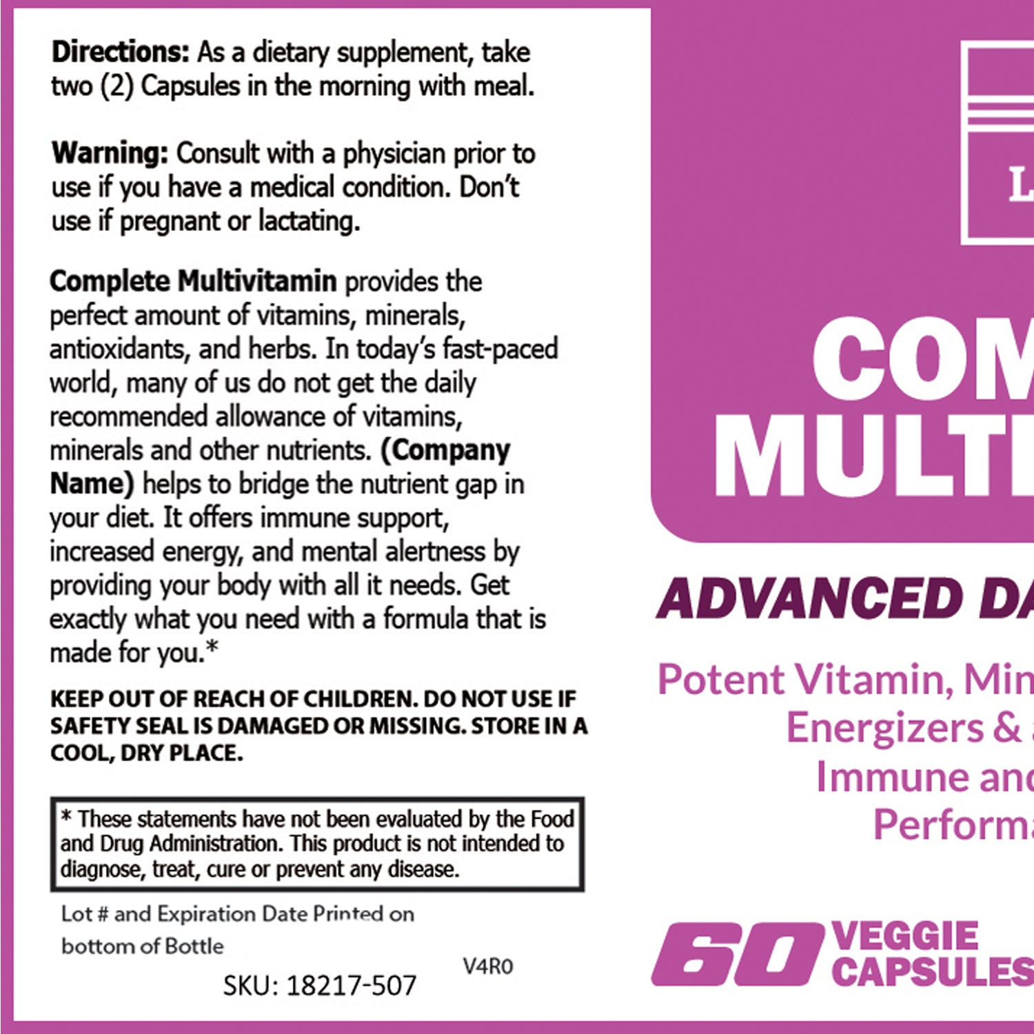 Complete Multi-Vitamin – 60 Caps