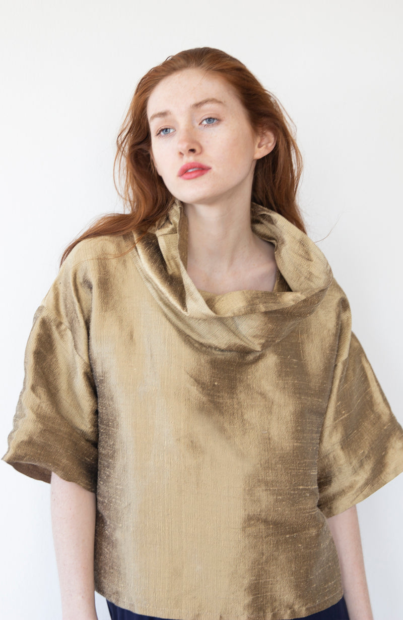 Gold Silk Blouse |  The Biodegradable Collection | Limited Edition Preorder Price