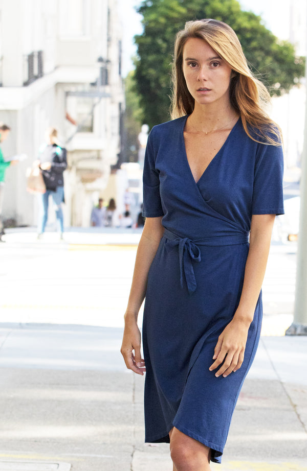 Indigo Dyed Wrap Dress | The Compostable Collection | Sold out