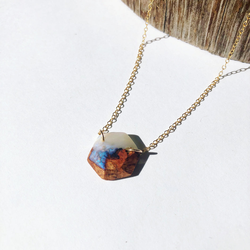 Opal & Cherry Hexagon Necklace