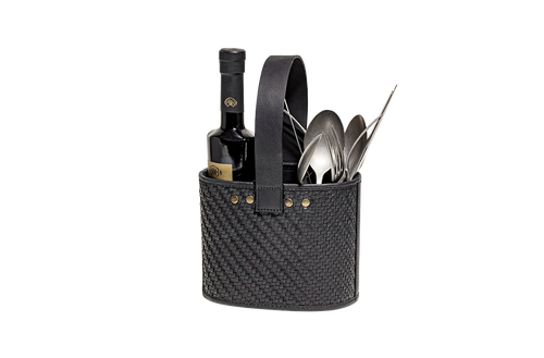 Cutlery holder – braided leather – black