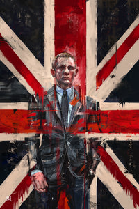 "Framed Sartorial Painting 007 James Bond Collection - Daniel Craig No.02, 16"" X 24"""