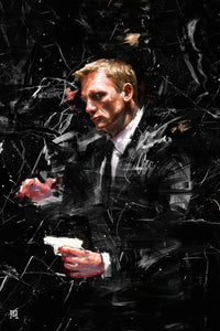 "Framed Sartorial Painting 007 James Bond Collection - Daniel Craig No.01, 16"" X 24"""