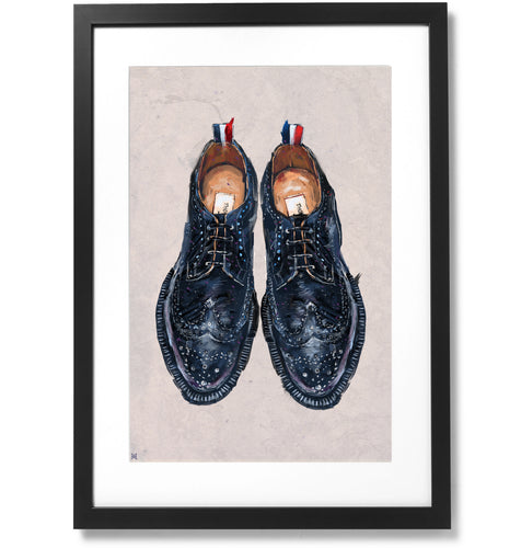 Framed Thom Browne Pebble-Grain Leather Longwing Brogues Print, 16