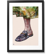 "Load image into Gallery viewer, Framed Gucci Slippers Print, 16"" X 24"""