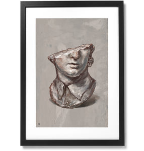 "Framed Fragmentary Colossal Head of a Youth Print, 16"" X 24"""