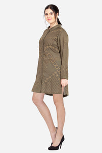 "Qaliy ""Zyra"" Custom Embroidered Shirt Dress"