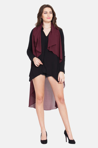 "Qaliy ""Quittie"" Draped Pull on front Open Poncho"