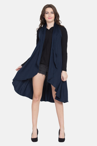 "Qaliy ""Olga"" Draped Pull on front Open Poncho"