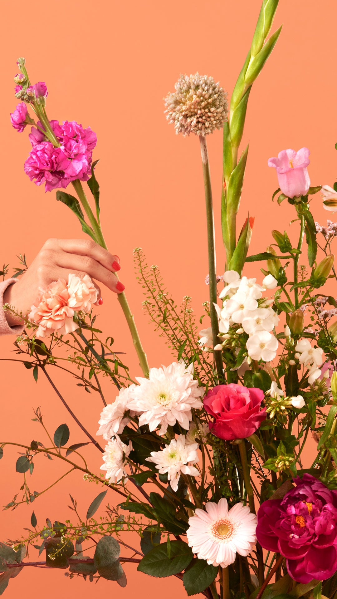 Wallpaper of bloomon bouquet with one hand