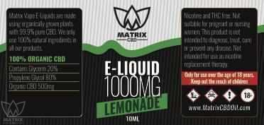 1,000mg - 10ml Matrix Lemonade Flavour CBD Vape E-Liquid