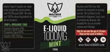 1,000mg - 10ml Matrix Mint Flavour CBD Vape E-Liquid