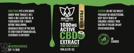 10ml - 10% Matrix CBD Oil 1,000mg