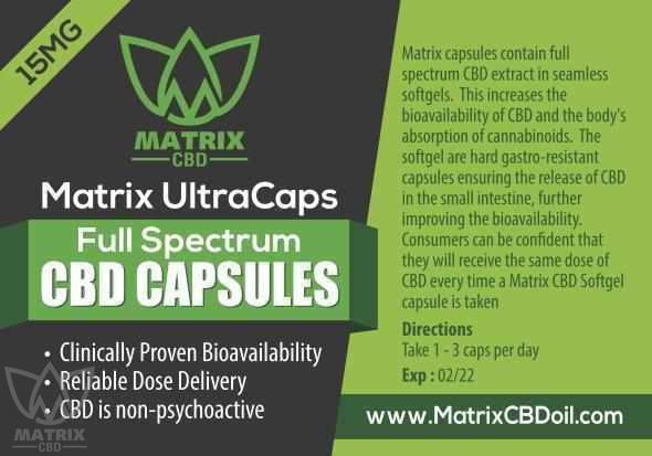 15 x 15mg CBD Full Spectrum Capsules