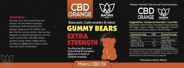 50 x Orange Flavour 1,500mg CBD Gummy Bears-Matrix CBD Oil